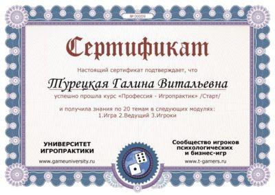 Сертификат Университет игропрактики